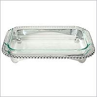 Mariposa  String of Pearls Pearled Oblong Cass Caddy/Pyrex 3QT $139.00