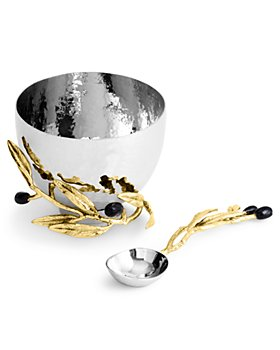 Michael Aram  Olive Branch  Collection Nut Dish w Spoon $125.00