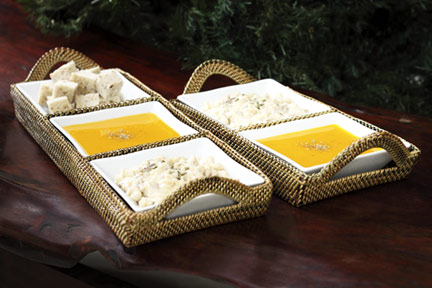 Calaisio   Rect. Hndl. Tray/3 Sq. Glass Dishes $109.00