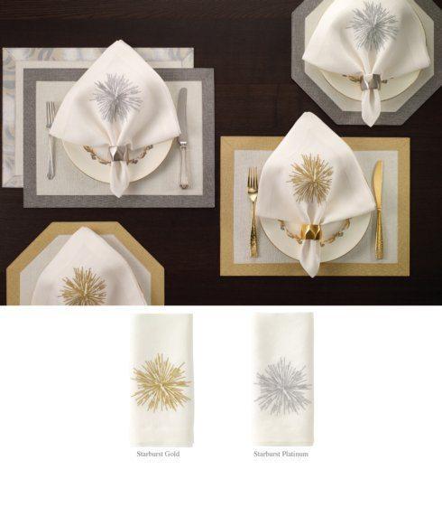 Bodrum   Starburst Gold Emb Napkin $26.00
