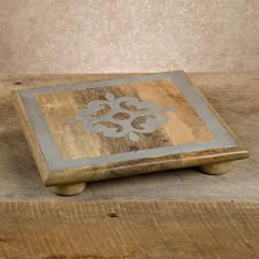 "GG Collection   10"" wood/metal trivet $44.00"