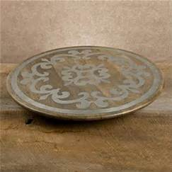 "GG Collection   Lazy Susan 18"" Wood/Metal $136.50"