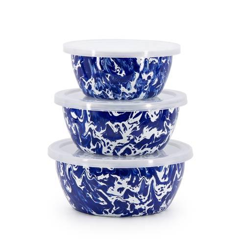 Golden Rabbit Swirls and Solids Cobalt Swirl Nesting Bowls $39.90