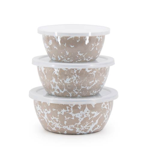 Golden Rabbit Swirls and Solids Taupe Swirl Nesting Bowls $39.90