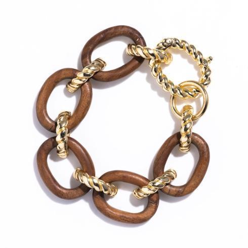 $195.00 Earth Goddess Teak Link Bracelet
