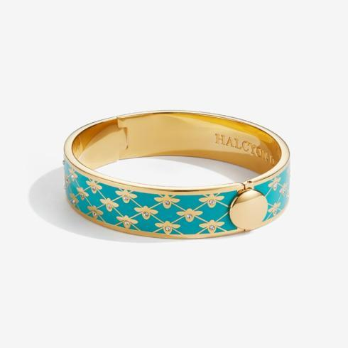 $225.00 Bee Sparkle Trellis Turquoise and Gold Bangle
