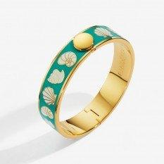 $225.00 Shells Turquoise Cream and Gold Bangle