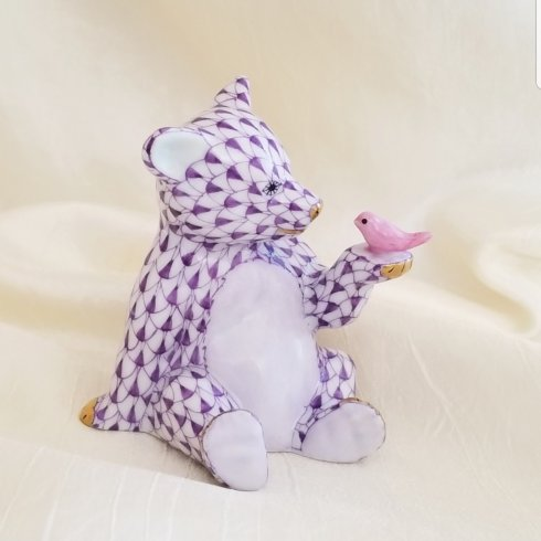 $390.00 Herend Bear with Bird in Lavender