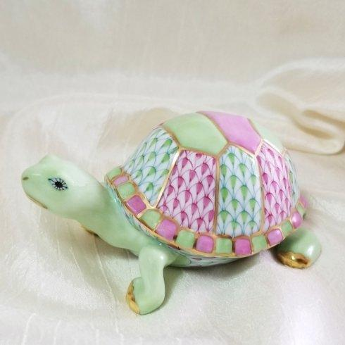 $475.00 Herend Box Turtle in Pink and Key Lime