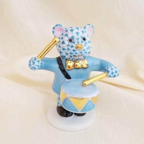 $375.00 Herend Little Drummer Bear in Turquoise