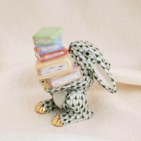 $350.00 Herend Scholarly Bunny in Forest Green