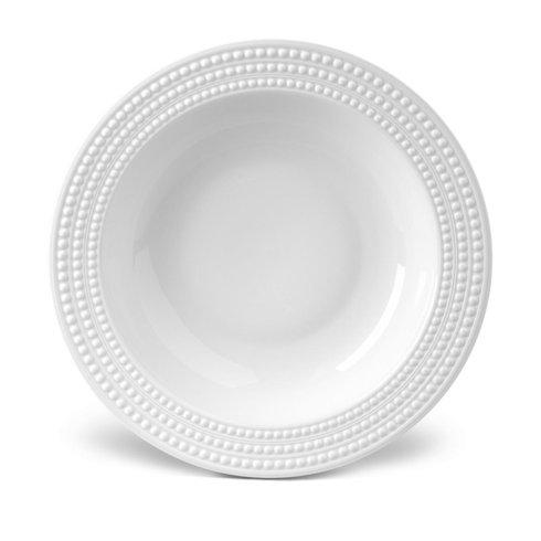 $240.00 L\'Objet Perlee White Rimmed Serving Bowl