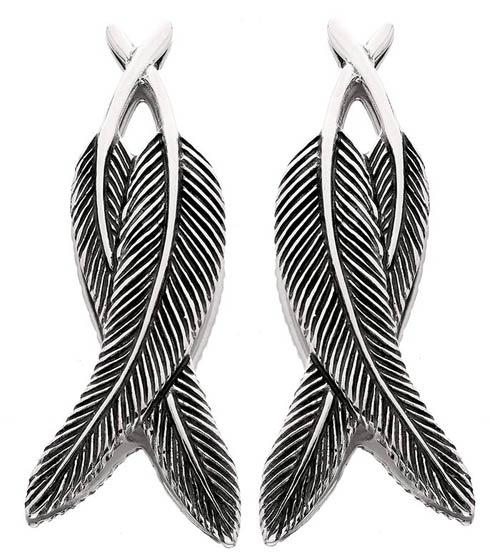 Crossover Feather Earring - Post