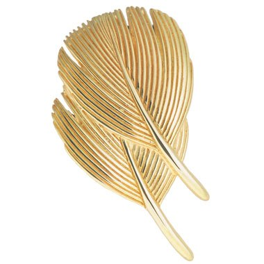 $997.00 Double Dove Feather Pin - 14kt Gold