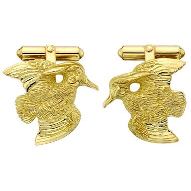 $1,497.00 Wood Duck Cufflinks - Pair - 14kt Gold