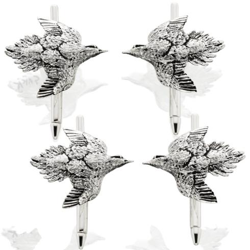 $300.00 Dove Tuxedo Studs - Set of 4 - Sterling Silver