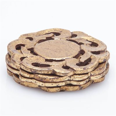 $32.00 Provence Coasters, Antiqued Gold Finish