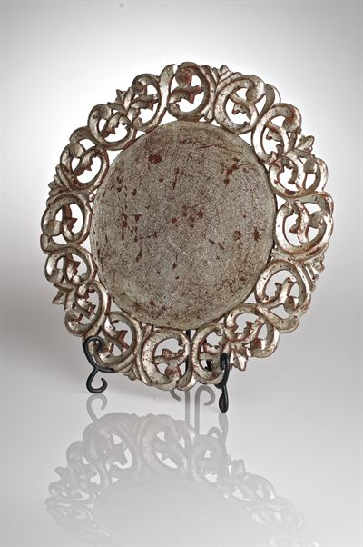 $65.00 Vendome Round Placemat, Silver Rub Finish