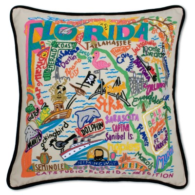$185.00 Florida Hand-Embroidered Pillow