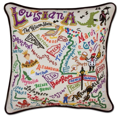 $185.00 Louisiana Hand-Embroidered Pillow