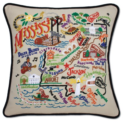 $150.00 Mississippi Hand-Embroidered Pillow