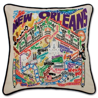 $185.00 New Orleans Hand-Embroidered Pillow