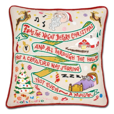 $185.00 Night Before Christmas Hand-Embroidered Pillow