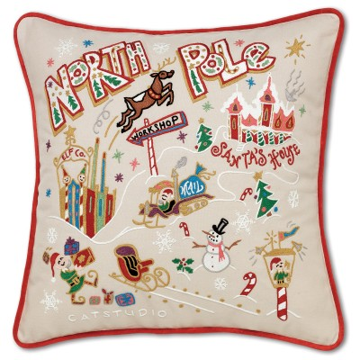 $185.00 North Pole Hand-Embroidered Pillow
