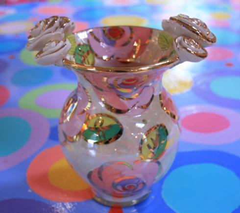$125.00 Small Fat Vase Pale Roses Pink