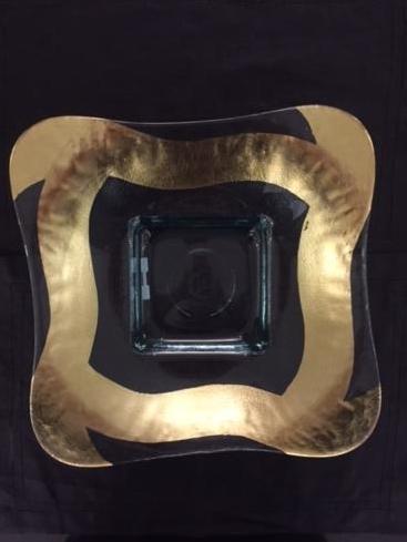 """$160.00 13"""" Large Square Gold Bowl"""