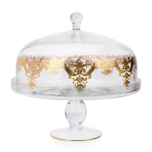 Generations Exclusives  Glassware Victorian Gold Dome Cake Stand $280.00