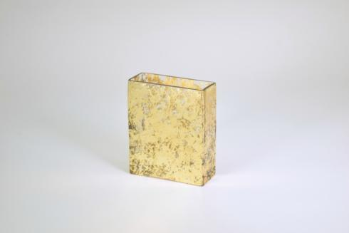 "$50.00 6"" Gold Wabi-Sabi Glass Rectangular Vase"