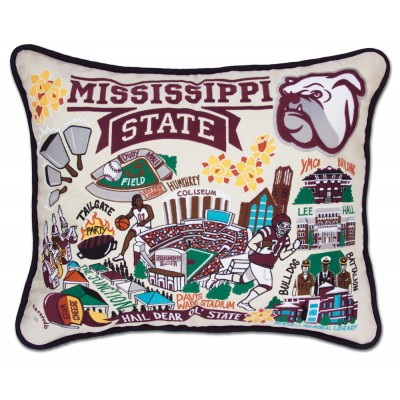 $150.00 Mississippi State Hand-Embroidered Pillow