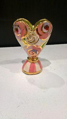 $75.00 Baby Heart Vase Pink Pale Roses