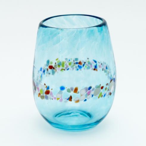 $35.00 Aqua Stemless Wine Glass