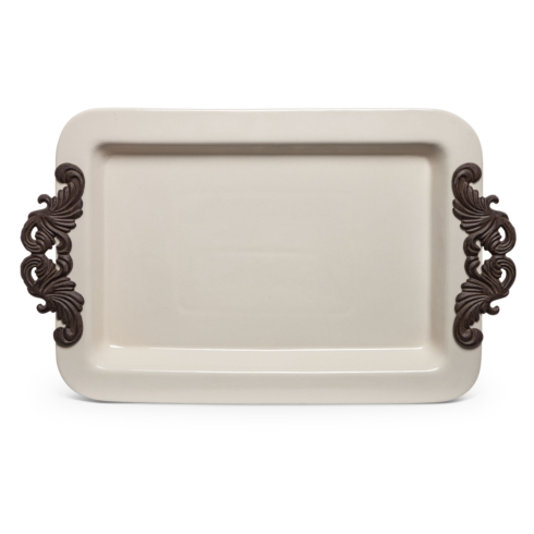 """$84.00 23.8"""" Acanthus Tray with Metal Handles"""