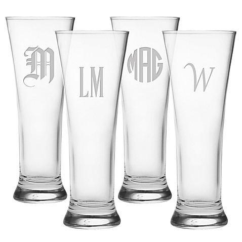 $69.95 Set of 4 Mongrammed Pilsners