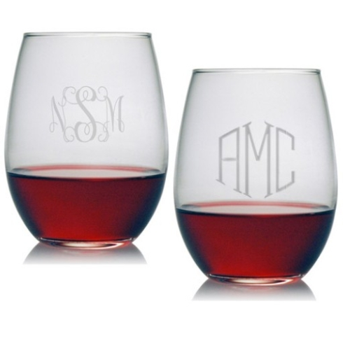 Susquehanna Glass   Monogrammed Red Wine Glasses $71.95