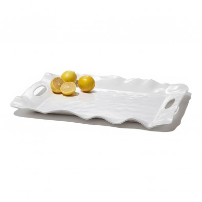 Galleria Riverside Exclusives  Beatriz Ball Melamine Beatriz Ball Havana Rectangular tray w/handles in white $57.00