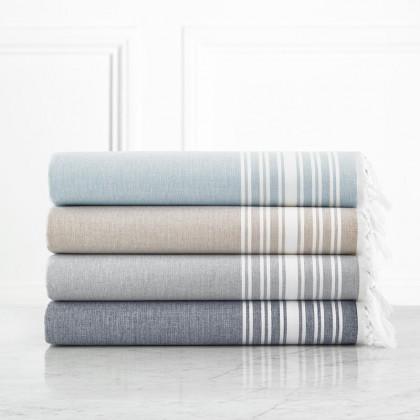 $20.00 Monogrammed Fouta Flat Weaved Towel in Almond