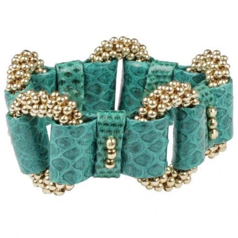 $1,295.00 Bracelet - Elsa Link with Green Leather & 14k Gold