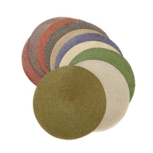 Deborah Rhodes  Placemats Woven Round Gold / Teal $19.00