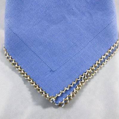 Julian Mejia Design  Napkins Blue Pico Edge Gold $41.00