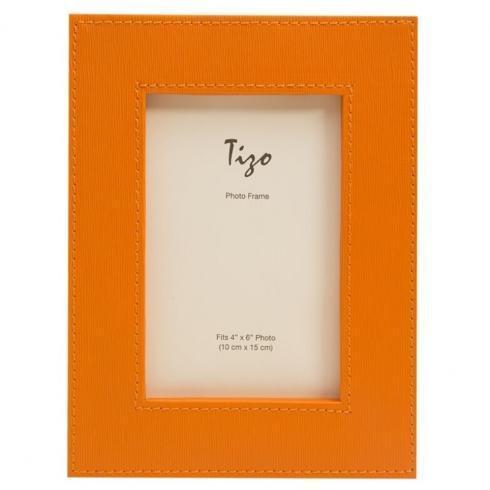 $19.00 Tizo: Faux Leather Orange Frame 4x6
