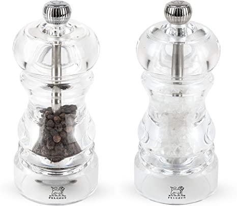 """$60.00 Nancy Duo Clear Salt & Pepper Mill 7"""""""