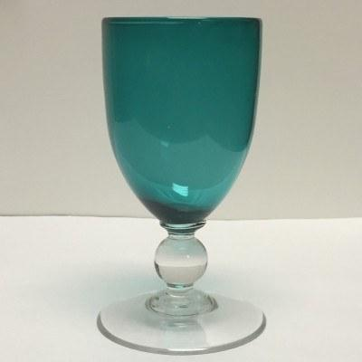 $86.00 Goblet Green Blue with Clear Ball Stem