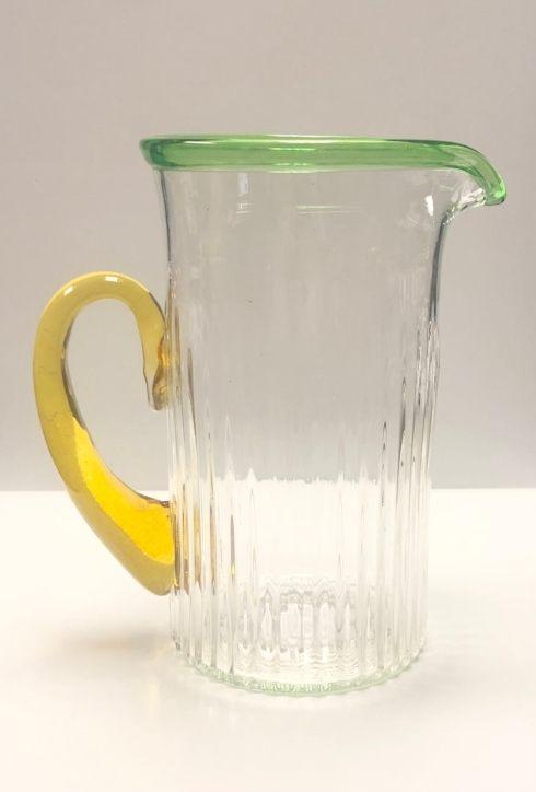 $225.00 Pitcher Ribbed with Green Lip and Amber Handle