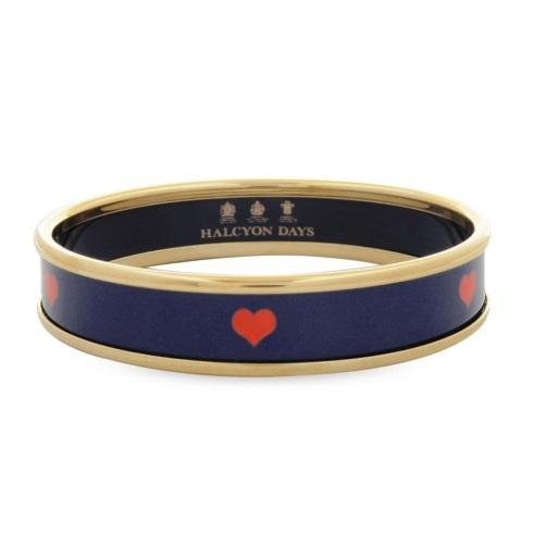 $145.00 Halcyon Days: Bangle - Red Heart on Navy Small