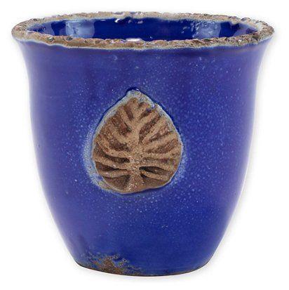 $165.00 Vietri: Rustic Garden - Cobalt Leaf Planter / Cachepot