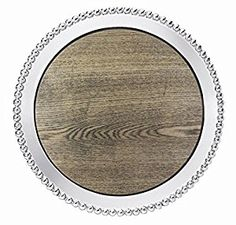 $139.00 Mariposa: Pearled Round Platter with Driftwood Insert